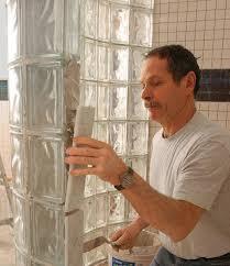 glass block shower on a curve fine