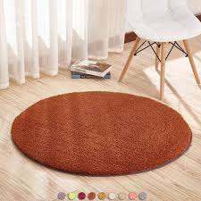 Taracreations Round Area Rugs Fluffy Soft Kids Room Anti Slip Shaggy Carpet Children Girls Nursery Living Room Floor Rugs Coffee 2 6 Diameter Baby Rugs