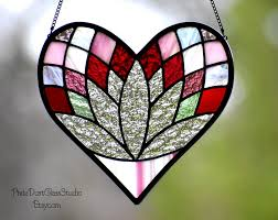 stained glass lotus heart suncatcher