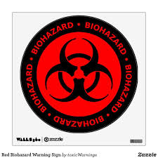 Red Biohazard Warning Sign Wall Sticker Zazzle Com In 2020 Wall Signs Custom Wall Decal Wall Sticker