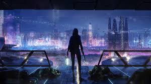 sci fi night city cityscape 4k