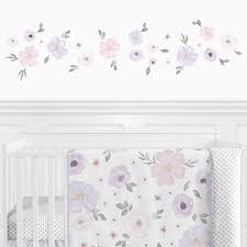 Purple And Grey Watercolor Floral Peel And Stick Wall Decal Stickers Art Nursery Decor By Sweet Jojo Designs Set Of 4 Sheets Lavender Pink Gray And White Rose Flower Only 24 99