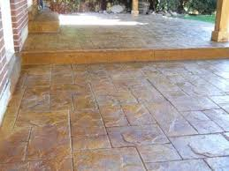 coffee stained concrete patio stamped