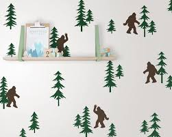 Friendly Sasquatch In The Forest Wall Decal Set Bigfoot Etsy In 2020 Woodland Nursery Decals Nursery Decals Forest Wall Decals