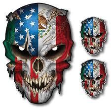 Mexico Usa Flag Skull Vinyl Decal Sticke Buy Online In Bosnia And Herzegovina At Desertcart