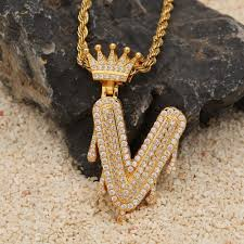 Custom Crown Bail Drip Bubble Initial Letters Chain Necklaces ...