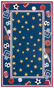 Rug Market Kids 16410 All Stars Blue Red Yellow Closeout Area Rug Rugs A Bound