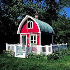 I Love This Beautiful Tiny Red Barn House Cottage Surrounded By White Picket Fence Looks To Me Like It S No More Red Barn House Play Houses Backyard Playhouse