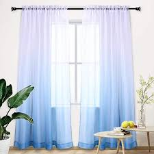 Amazon Com Ombre Curtain Blue Gradient Semi Sheer Curtain Teenage Girls Bedroom Curtains Set Window Panel Voiles Drape For Girls Room Kids Room Nursery Living Room Blue And White 84 Inch Light One Panel Blue Kitchen