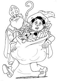 Kleurplaat Sinterklaas Zwarte Piet Zwarte Piet Tilt De Zak