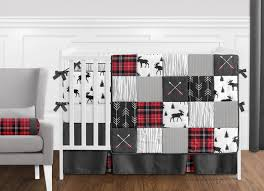 grey black and red woodland plaid and