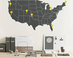 Large Vinyl Wall Usa Map Decal United States Wall Sticker With The Point Signs M001 Usa Map Wall Decal Map Wall Decal Vinyl Wall Tree