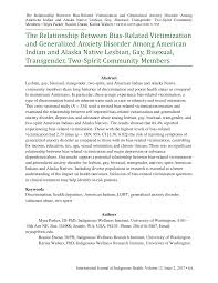 The Relationship Between Bias-Related Victimization and Generalized Anxiety  Disorder Among American Indian and Alaska Native Les