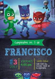 Invitation Pj Mask Party Tarjetas De Cumpleanos Para Ninos