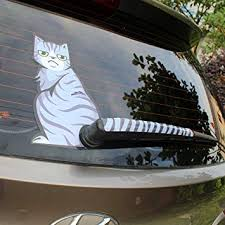 Amazon Com Bemost Cartoon Funny Cat Moving Tail Stickers Reflective Car Animals Window Wiper Decals Car Styling Automotive Frowning Automotive