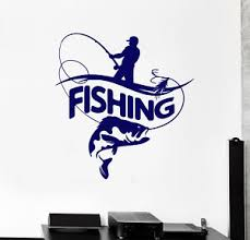 Vinyl Wall Decal Fisherman Fishing Rod Big Fish Logotype Stickers 2187ig Ebay