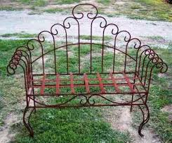 wrought iron double spin bench metal