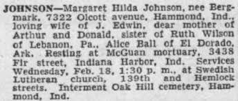 Margaret Hilda Johnson nee Bergmark obit Feb 1953 - Newspapers.com