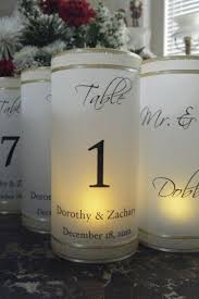 table number luminaries with names and