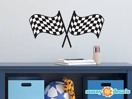 Racing Checkered Flags Fabric Wall Decal Nascar Inspired Racing Fabric Wall Sticker