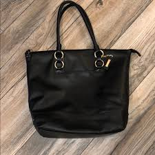 cole haan bags black leather tote