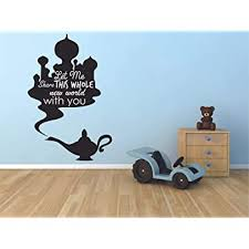 Amazon Com Let Me Share This Whole New World With You Aladdin Disney Wall Sticker Vinyl Wall Art Decal For Girl Boy Baby Kid Bedroom Nursery Daycare Home Decor Sticker Wall Art Vinyl