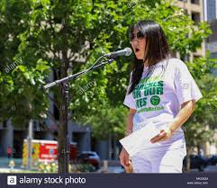 Po Murray, Chairwoman of Newtown Action Alliance speaks to a crowd of  demonstrators in Dallas, Texas on May 5th 2018 Stock Photo - Alamy