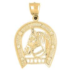 18k gold horseshoe with horse pendant