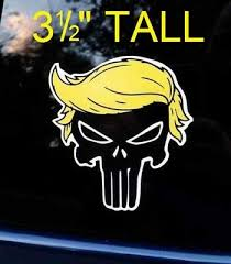 Trump Punisher With Hair Window Decal Bumper Sticker Funny Pro Usa Nra 2a Maga Us Polybull Com