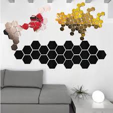 Stickers 12pcs 3d Mirror Hexagon Vinyl Removable Wall Sticker Decal Home Decor Art Diy Adesivo De Parede Decoration Wall Decor Wall Stickers Aliexpress