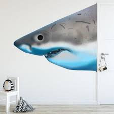Jaws Shark Wall Decal Peel And Stick Great White Shark Etsy