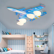 Acrylic Airplane Led Ceiling Lamp Boys Bedroom 4 Heads Cool Flush Ceiling Light In Blue Takeluckhome Com