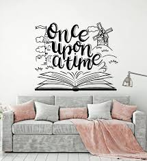 Vinyl Wall Decal Once Upon A Time Tale Book Library Nursery Kids Room Wallstickers4you