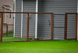 Tall Chain Link Fence With Wood Posts Fence Design Backyard Fences Chain Link Fence