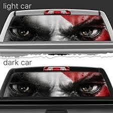 Amazon Com Kratos God Of War Face Eyes Perforated Vinyl Decal Rear Window Car N654 Frst 29x66 Baby