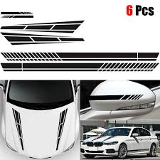 6x Stripe Vinyl Decal Sticker Graphics Car Side Body Hood Cover Rearview Mirror Car Stickers Aliexpress