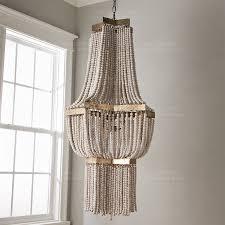 large wood fringe chandelier beaded