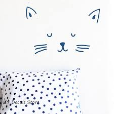 Kitty Face Wall Sticker Lovely Cat Wall Decals Baby Girls Room Decor Removable Self Adhesive Vinyl Stickers Kids Wallpaper S624 Kids Wallpaper Cat Wall Decalwall Sticker Love Aliexpress
