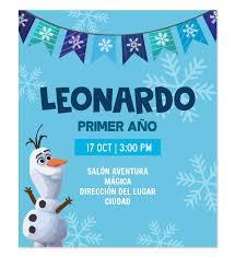 Invitacion Cumpleanos Olaf Invitaciones De Cumpleanos