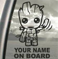 Baby On Board Groot Personalised With Any Name Car Decal Window Sticker Ebay