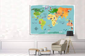 World Map For Kids Room Decor 33 Ready To Hang Canvas Print Zellart Canvas Prints