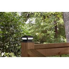Hampton Bay 3 5 In X 3 5 In Outdoor Black Solar Integrated Led Plastic Post Cap Light With A 5 5 In X 5 5 In Adaptor 2 Pack 2211 Np3 The Home Depot