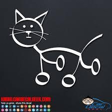 Cute Family Cat Stick Figure Vinyl Window Car Decal Sticker