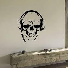 Shop Skull Wearing Headphones Vinyl Wall Art Decal Sticker Overstock 10793022