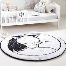 Amazon Com Hiltow Round Rugs Baby Rug Nursery Rugs Cute Fox Design Home Decoration Area Rugs Bedroom Living Room Carpet Mat Baby Crawling Mats Kids Play Mat Machine Washable Rugs Whilte Diameter 39 Inches