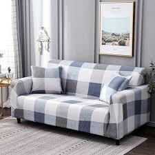 white blue plaid colors sofa cover