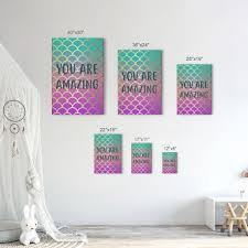 You Are Amazing Quote Mermaid Decor Kids Room Decor Nursery Wall Art Smile Art Design
