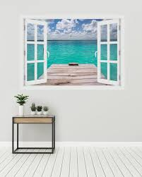 3d Window Pier In Caribbean Seas Wall Decal Vinyl 3d Wall Etsy