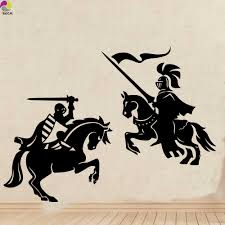 Knight Warrior Wall Sticker Kids Room Living Room Medieval Dragon Slayer Horse Solider Army Wall Decal Bedroom Vinyl Decor Wall Sticker Wall Sticker Kids Roomwall Decals Aliexpress