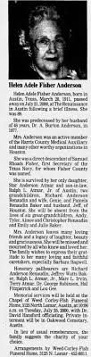 Obituary for Helen Adele Fisher Anderson, 1911-2000 (Aged 89) -  Newspapers.com